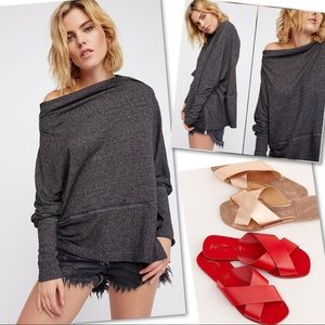 FREE PEOPLE LONDONTOWN OFF SHOULDER PULLOVER TOP M